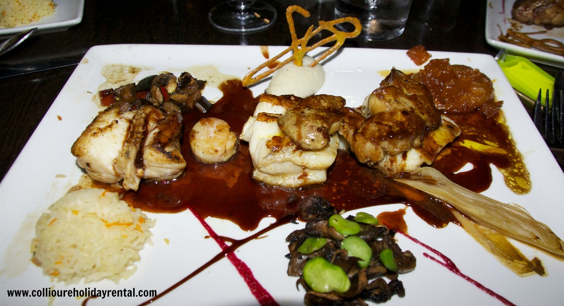 The monkfish with scallops cooked in Banyuls at Le jardin de Collioure