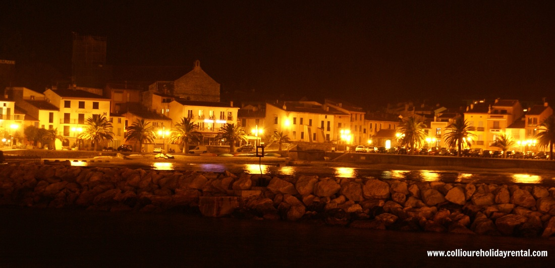 Collioure main street at night